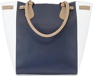 StilGut® collection Marina, sac à main Shopper en cuir italien véritable, en bleu/blanc/beige