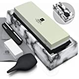Amesser Whetstone Knife Sharpening Stone - 1000/6000 grit 2·Sided Combination Professional Waterstone with Plastic Base, Flat