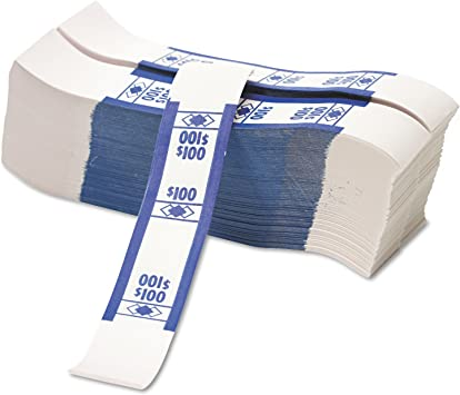 $100 Self-Adhesive Dollar Bill PM Color-Coded Kraft Currency Straps 1000//Pk