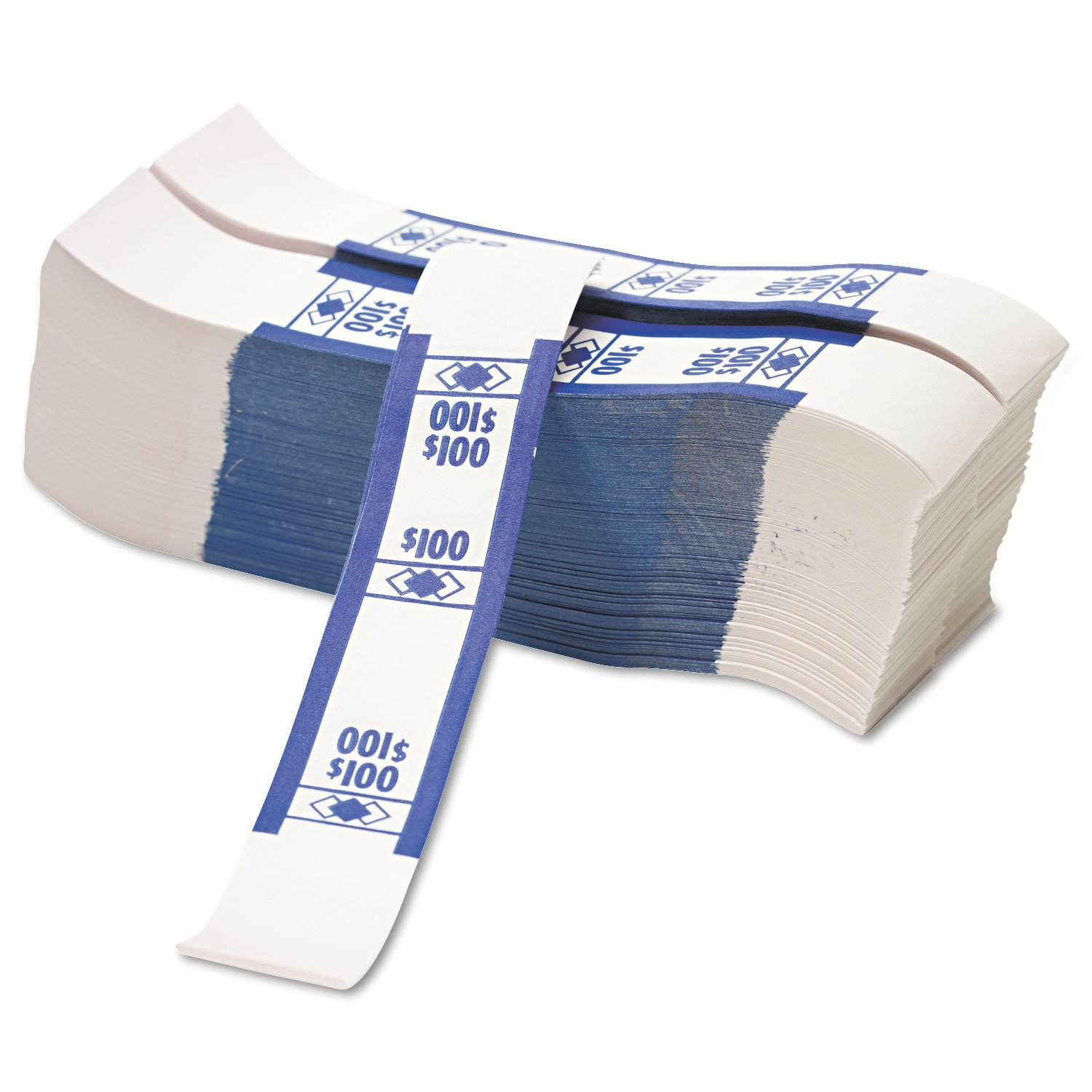 Coin-Tainer Currency Straps Blue $100 in Dollar Bills 1000 Bands//Pack 400100