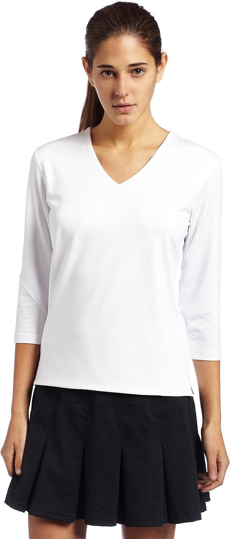 White Boll/é Womens Essential 3//4 Sleeve Tennis Top X-Large