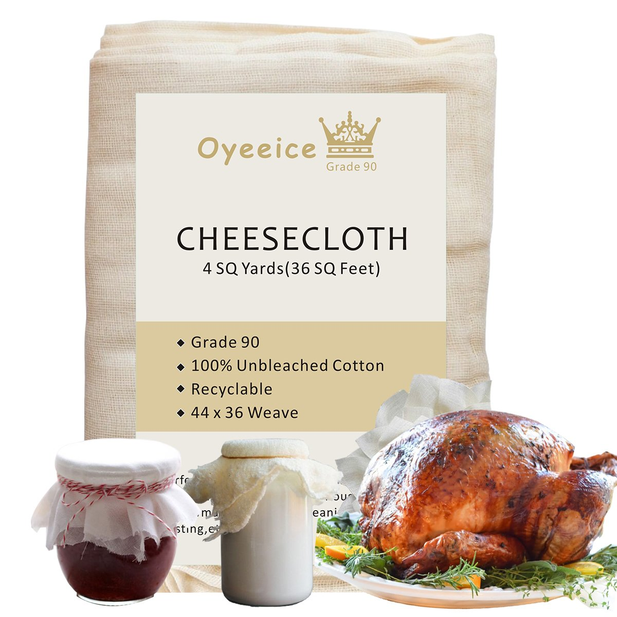 Oyeeice Reusable Cheesecloth,Unbleached Grade 90 Natural Cotton Cheesecloth for Making Cheese Yogurt Turkey(4 Yards/36 Sq.Feet)