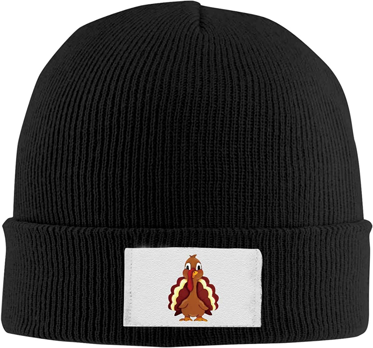 Dunpaiaa Skull Caps Painted Cute Turkey Winter Warm Knit Hats Stretchy Cuff Beanie Hat Black