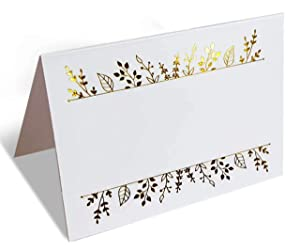 100 Gold Foil Place Cards. Tented Table Seating Cards Perfect for Wedding, Banquets, and Any Event, Party or Reception. Large 2.5 x 3.75 inches Name Place Cards.