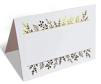 Amazon.com: 100 tarjetas de papel de aluminio dorado ...