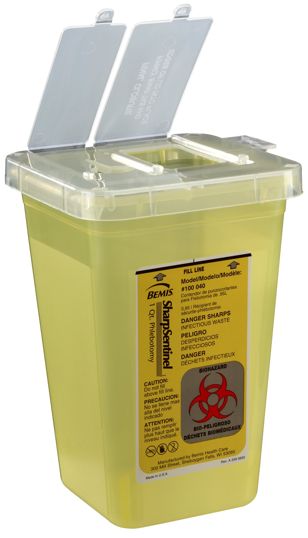 Bemis Healthcare 100040-100 1 quart Phlebotomy Container, Translucent Yellow (Pack of 100)