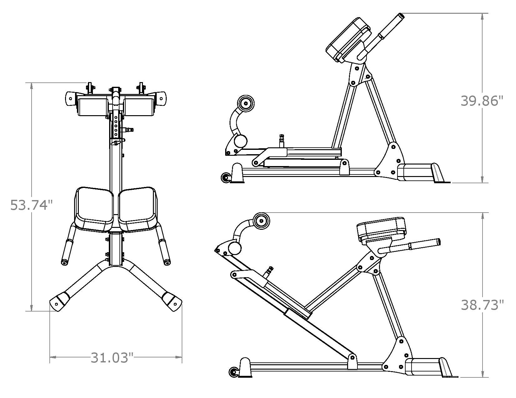 Inspire Fitness Hyper Extension/Roman Chair (Adjustable from 45-90