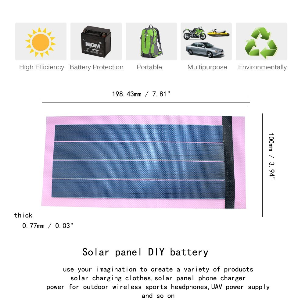 Jiang Flexible Thin Film Solar Panel Module Diy 1w 6v The Back Shed Recycled Items Used To Generate Power Rechargeable Battery Pink Garden Outdoor