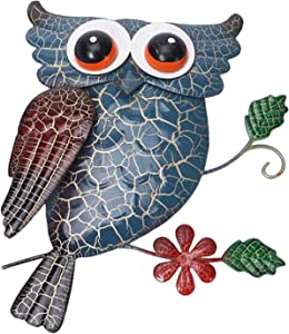 Plcnn Metal Owl Wall Decor Outdoor Hanging Art Blue Owl Sculpture iron Animal Statues for Garden Wall Patio, Home, Fence, Farmhouse, Indoor Gift Set