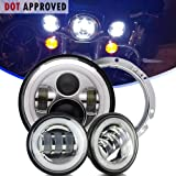 """AUSI Chrome Daymaker DOT Approved Angel Eye Harley Davidson 7"""" Round LED Headlight With DRL Amber Turn Signal Hi/Lo Beam+4.5"""" Fog Lights For Road King Street Glide Softtail Fatboy Yamaha Motorcycle"""