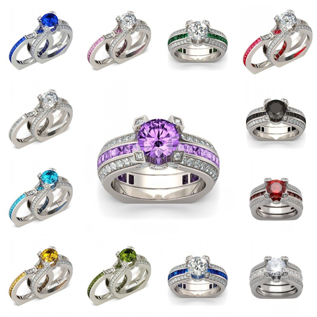 Amazon.com: JEWH Luxury Female Ring Sets - Silver Color Filled Jewelry - Vintage Promise Rings for Women - Zircon Wedding Engagement Rings - Sweet Lovely ...