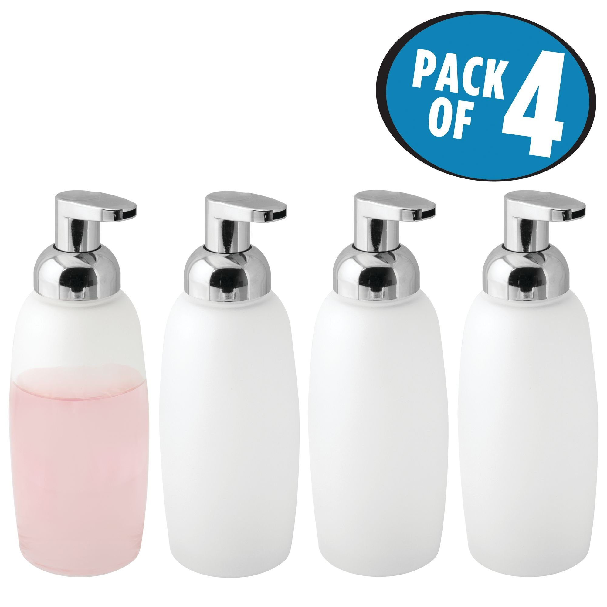 mDesign Modern Glass Refillable Foaming Soap Dispenser Pump Bottle for Bathroom Vanities or Kitchen Sink, Countertops - Pack of 4, Frost with Chrome Pump Head by mDesign