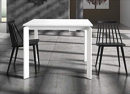 L Aquila Design Arredamenti Table Chairs Tavolo Allungabile Con Struttura In Metallo E Piano In Legno Laccato Bianco 90x90 833 Amazon It Casa E Cucina
