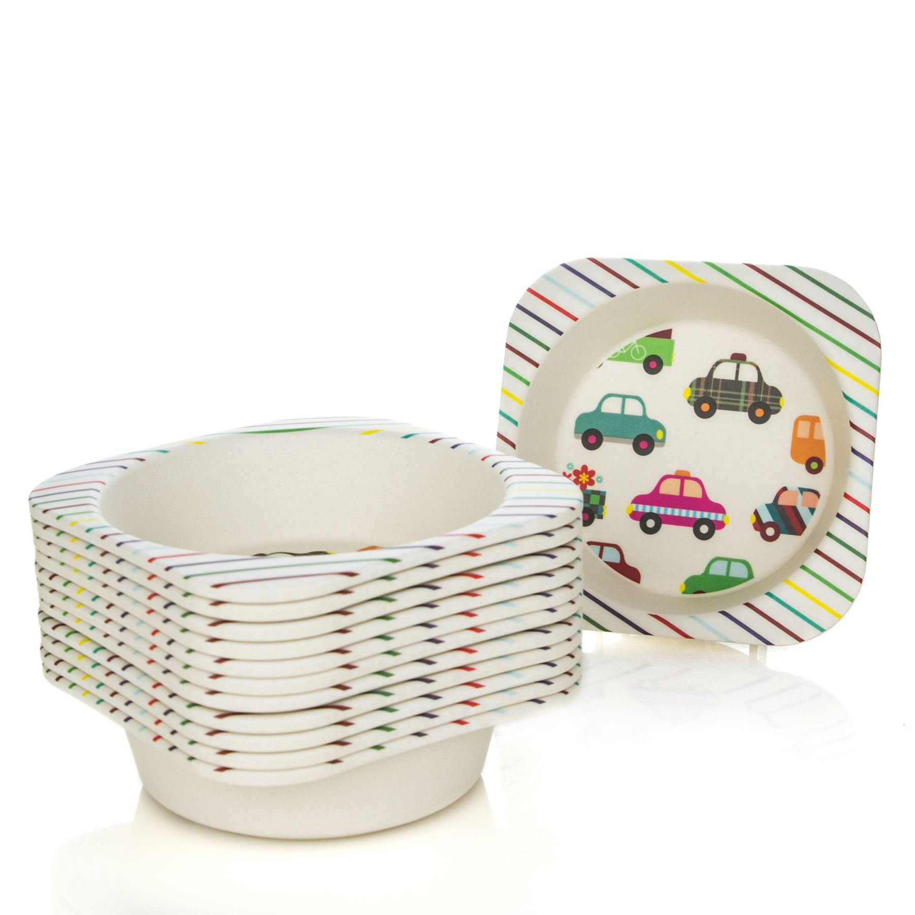 Tiny Dining Children's Bamboo Fibre Dining Bowl - Cars - Pack of 12