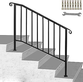 Happybuy - Pasamanos para escalera, acero inoxidable, color negro mate, con kit de instalación de rieles de mano para escalones al aire libre: Amazon.es: Bricolaje y herramientas
