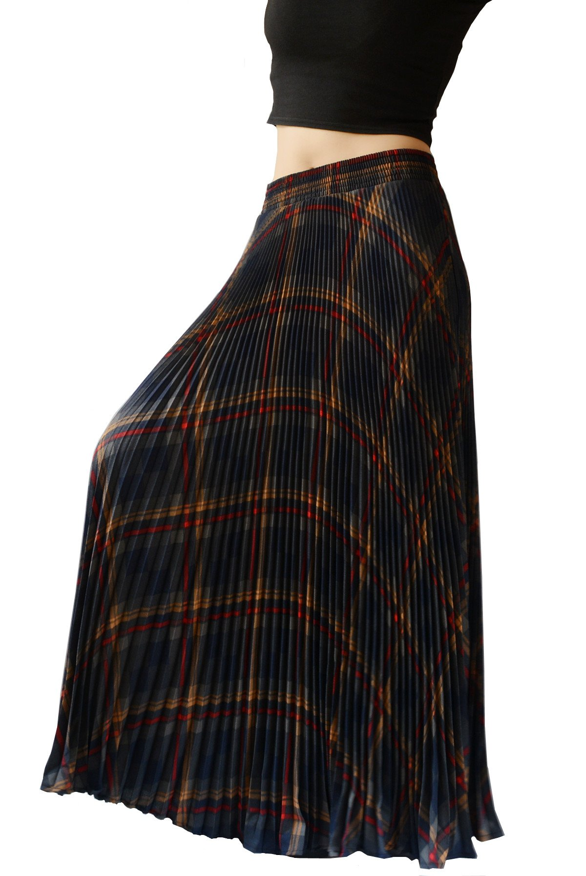 YSJ Womens Plaid Long Maxi Skirt - 37.8'' Thick 360 Sunray Pleated Full Skirt Dress (Brown) One Size