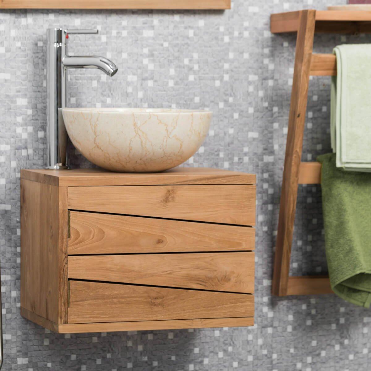 Magasin Salle De Bain Lille ~ meuble de salle de bain suspendu en teck cosy 40cm amazon fr