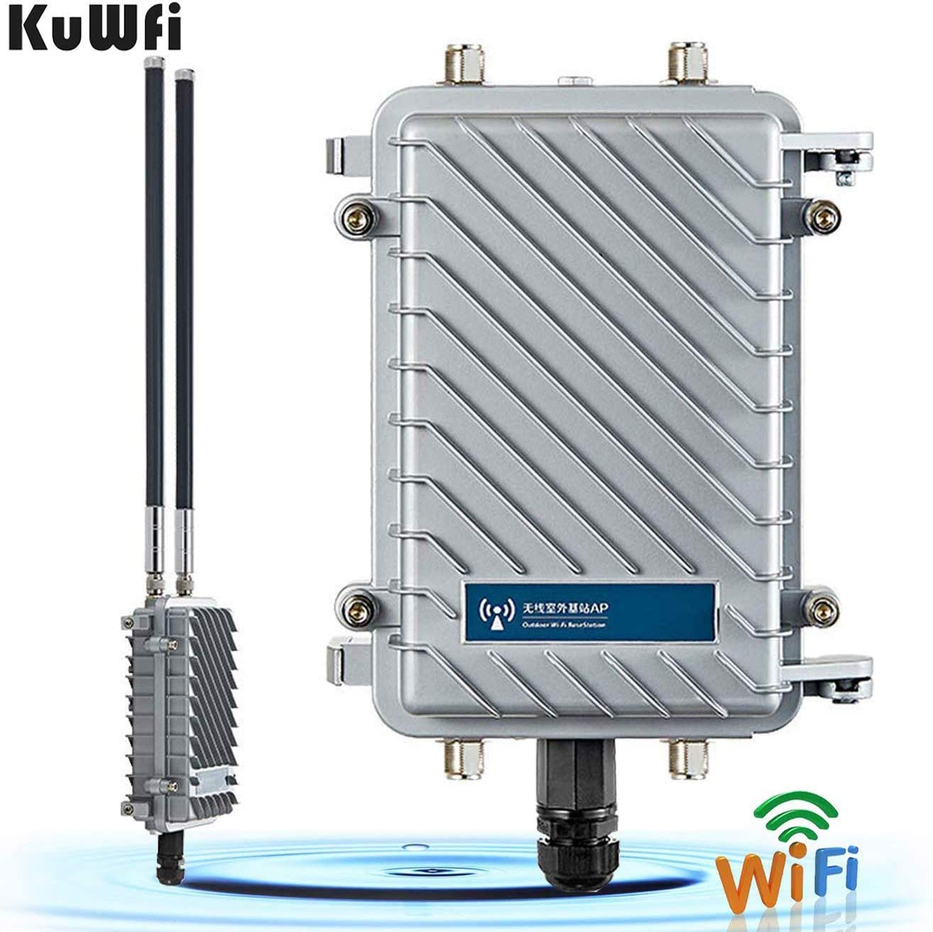 KuWFi High Performance 300Mpbs 2.4G Outdoor CPE/AP Waterproof Outdoor Base Station Access Point with 18dBi Panel Antenna Support Wireless AP/Gateway/WiFi Repeater/Bridge/WISP