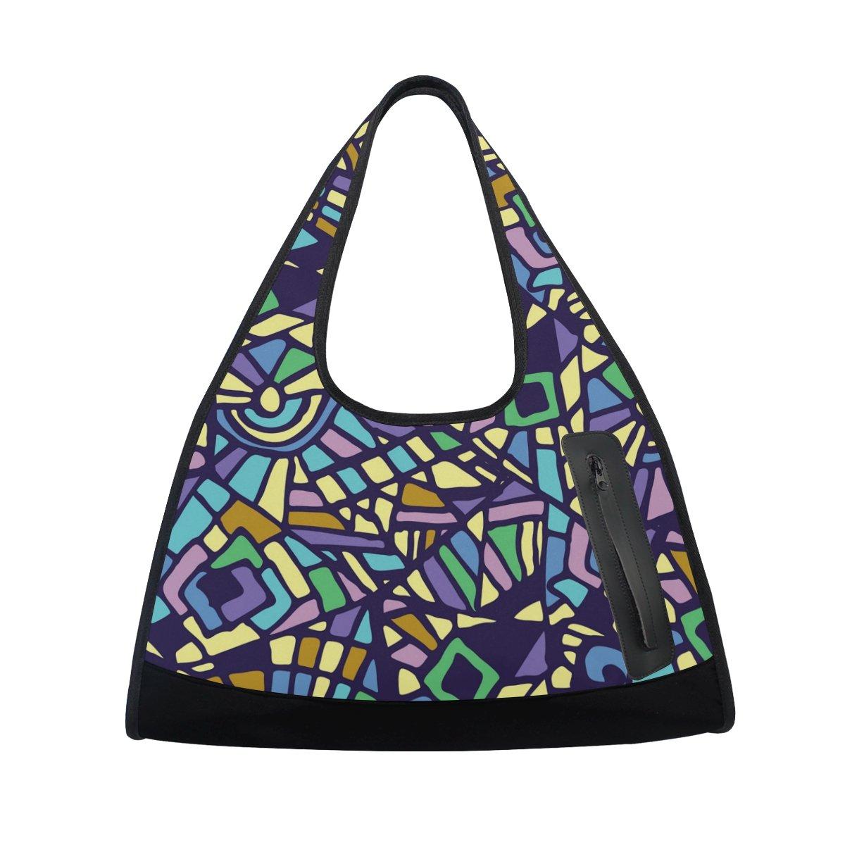 Sport Gym Bag Vintage Marble Mexican Ceramic Tile Canvas Travel Duffel Bag
