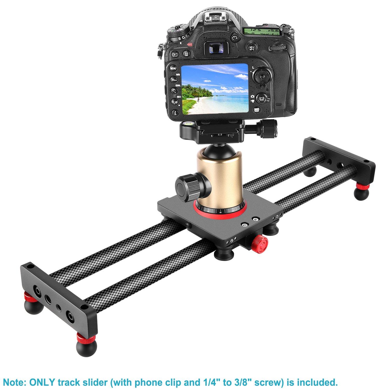 Neewer Mini Curseur Glissi/ère Dolly Slider Fibre Carbone pour Cam/éra//T/él/éphone 40 cm Stabilisateur Compact Vid/éo avec 4 Paliers pour Smartphone,DSLR Cam/éra,DV Vid/éo Cam/éscope Film Youtube