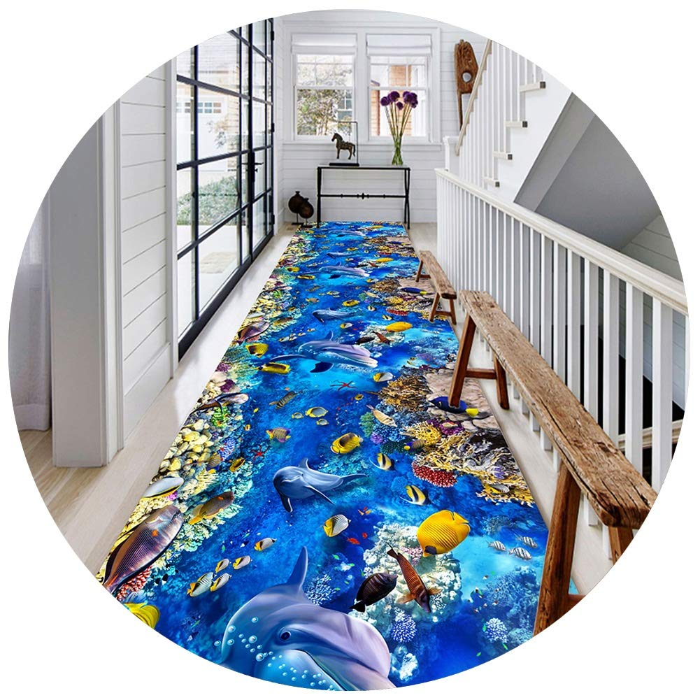 YANGJUN 3D 廊下敷きカーペット ラグ ランナー 滑り止め イージーケア 洗える 柔らかい 印刷 家庭 ホテル 立体視 イルカ 海洋 青 カッタブル カスタマイズ可能 (色 : A, サイズ さいず : 1.2x5m) B07RZSPNRR A 1.2x5m