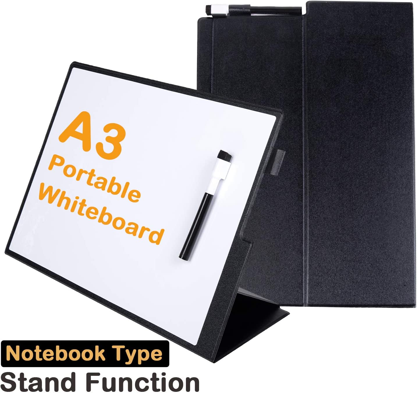 "Small White Board A3 Desktop Dry Erase Board 12""16"" Portable Whiteboard Easel with Stand PU Cover Case for Kids, Adult, Office, Home, School"