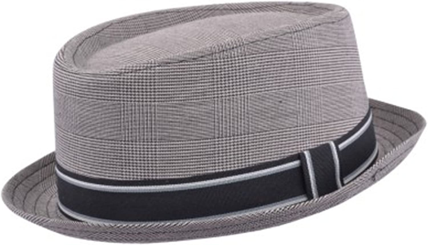 MAZ Adult Unisex Porkpie Classic Cotton Blend Pork Pie Trilby Hat with Stripey Band