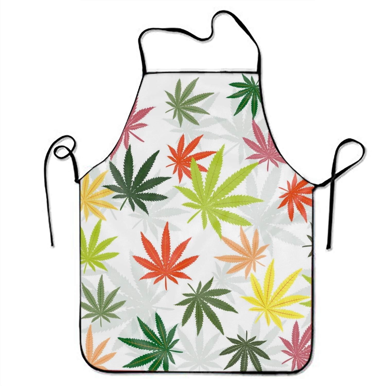FnLiu ユニセックス カスタム エプロン ハロウィン フクロウ 防水 エプロン 調節可能 キッチン 料理 ビブ BBQ エプロン One Size  Marijuana Leaves9 B07GWWPKRX