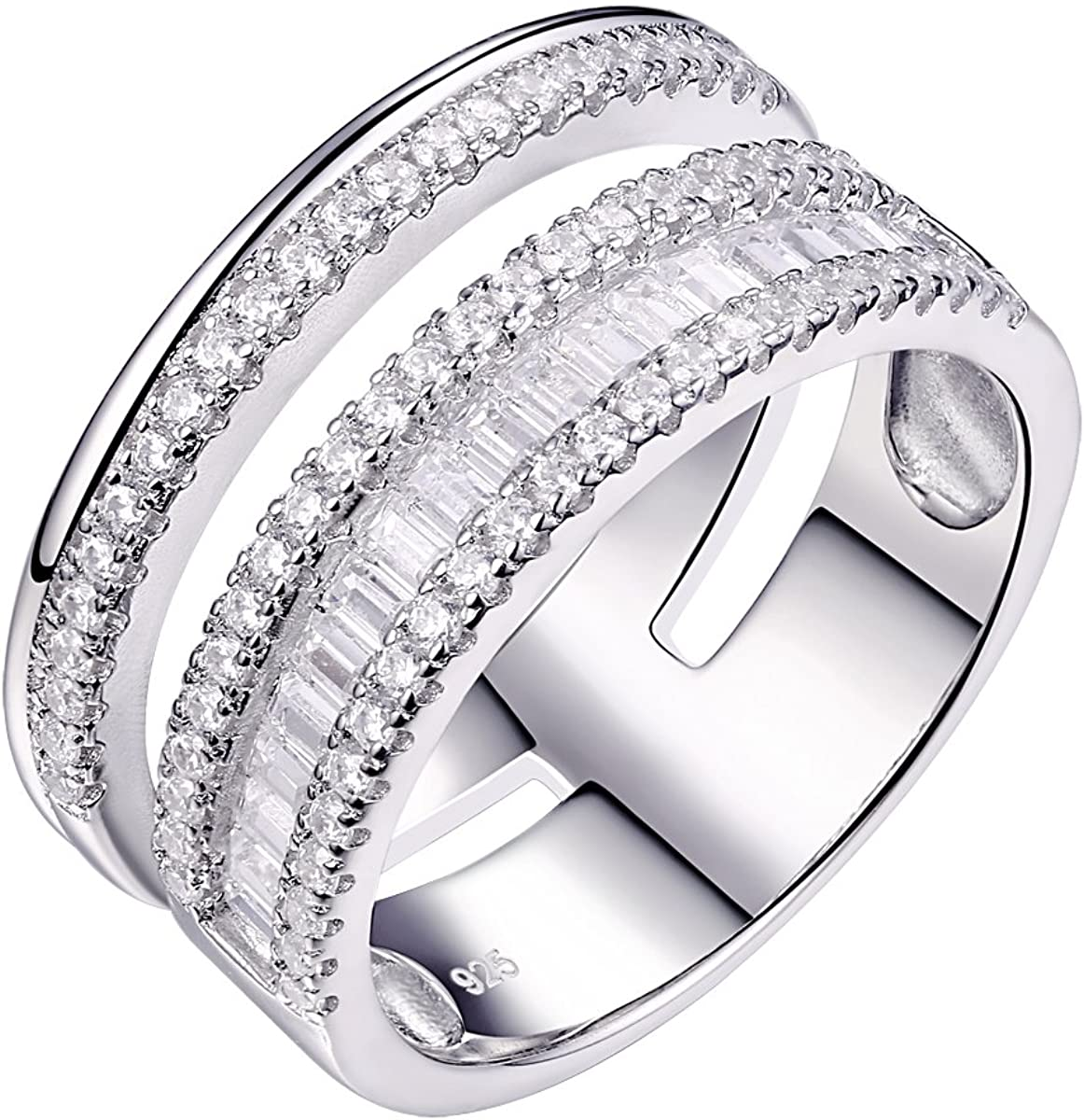 It is a photo of Newshe Woman White AAA Cz 43 Sterling Silver Wide Wedding Band Statement Ring Gemstone Size 43-43