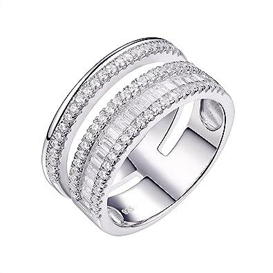 Amazon.com: Newshe Wide Wedding Band for Women Engagement Eternity
