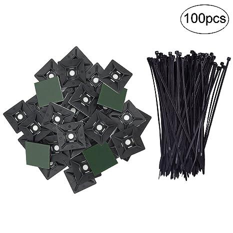 jamhoodirect 100 piezas Auto adhesivo Cable Tie Montaje Base Titulares (28 mm x 28 mm