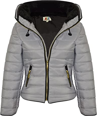 Kids Girls Jacket Mustard Cropped Padded Puffer Bubble Fur Collar Warm Coat 3 13