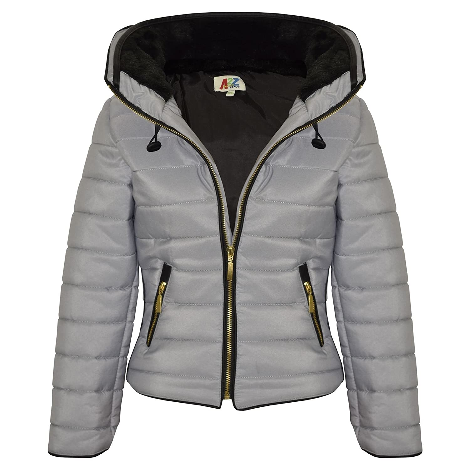 3d7bc5f92 A2Z 4 Kids® Girls Jacket Kids Stylish Padded Silver Puffer Bubble Faux Fur  Collar Quilted Warm Thick Coat Jackets Age 3 4 5 6 7 8 9 10 11 12 13 Years