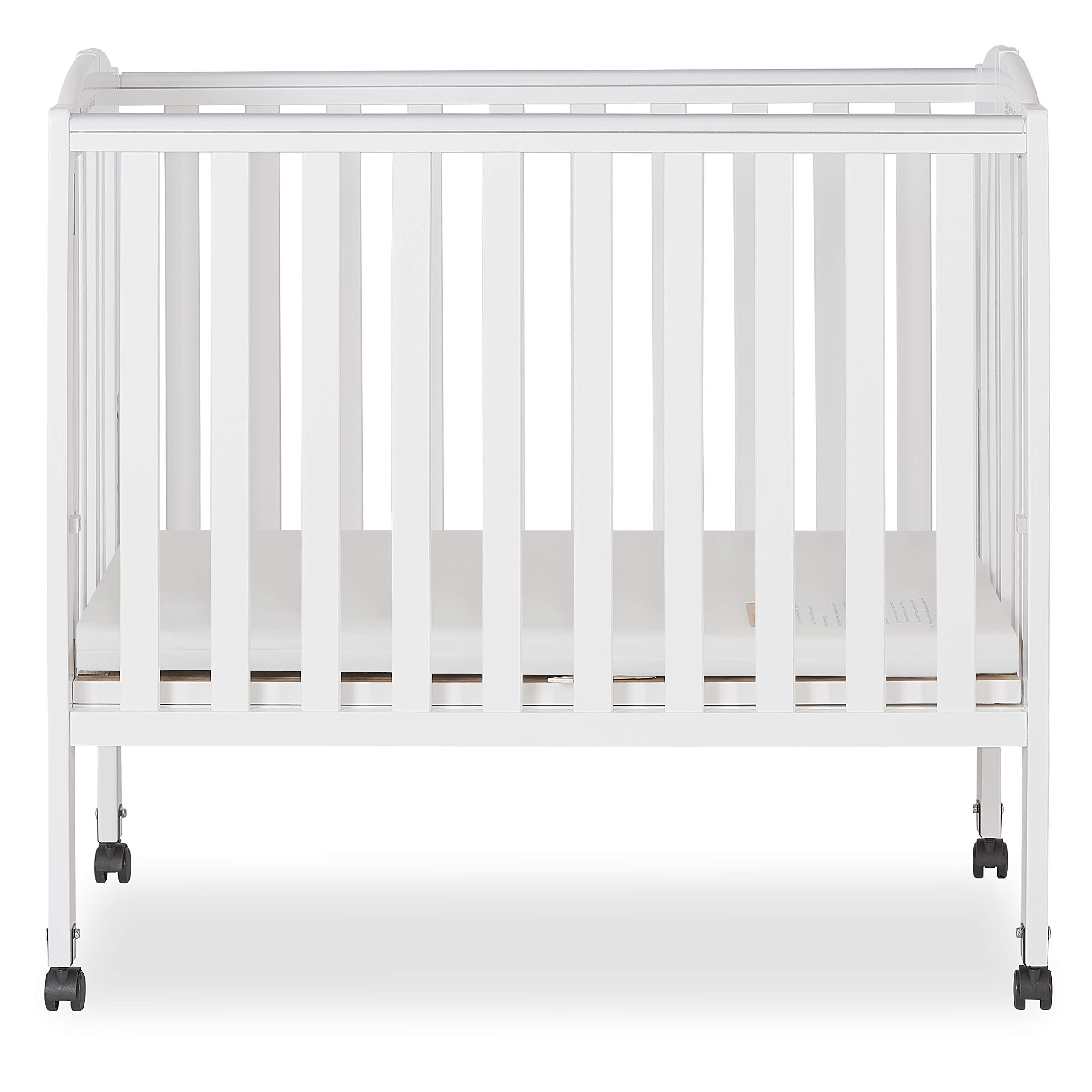 Dream On Me 2 in 1 Portable Folding Stationary Side Crib, White by Dream On Me