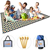 Picnic Blanket, X-Lounger Water Resistant and Lightweight 1.4lbs Sand-Proof Foldable Outdoor Camping Mat Dual Layers 78 inches x 57 inches Polyester and 210D Moisture-Proof Material Come with 4 Loops