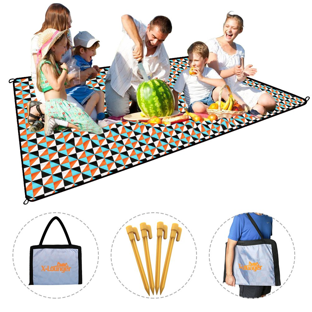 Camping Picnic Blanket Folded Bag Design Carry Kids Toys Food Large 1.4Lbs Ultalight Portable Beach Picnic Blanket Mat with Strap and 4 Stakes for Outdoor Indoor Waterproof Sand Proof Easy to Clean