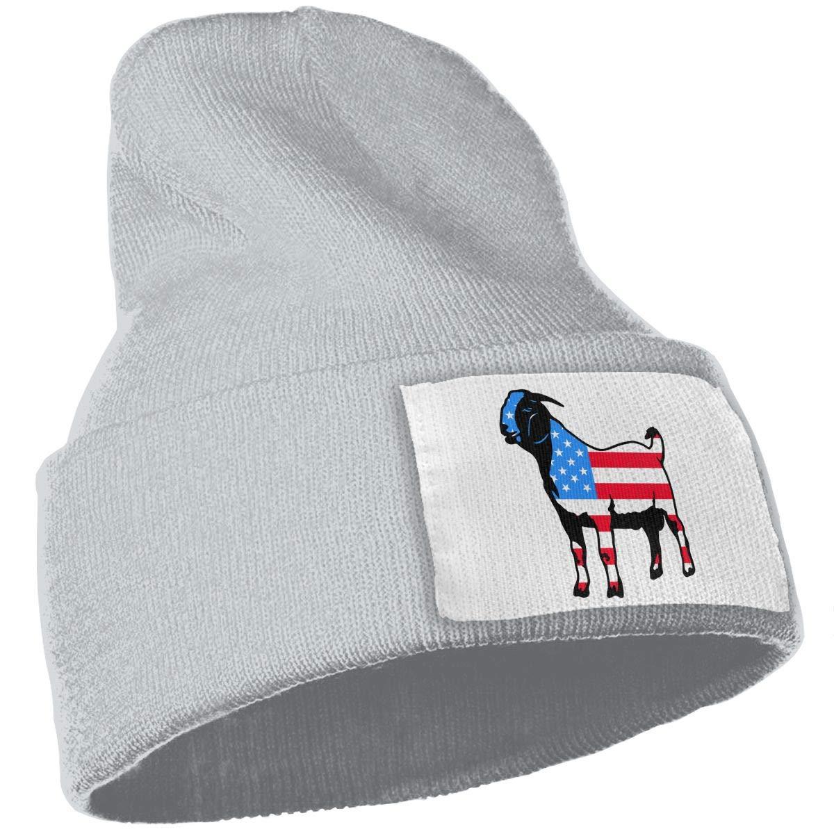 Men /& Women USA Boer Goat Silhouette Outdoor Warm Knit Beanies Hat Soft Winter Knit Caps