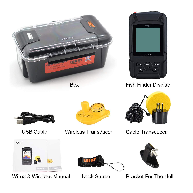LUCKY Buscador de Peces 328feet //100M Profundidad Fishfinder Sonar Transductor 2-in-1 con Cable y Sensor Inal/ámbrico Port/átil Impermeable Rastreador de Peces