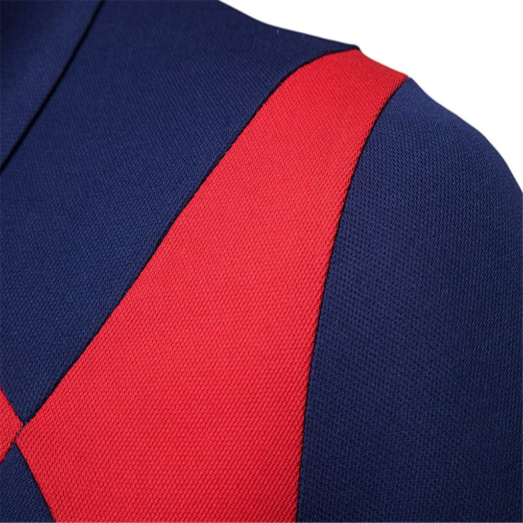 Manzzy Men/'s Short Sleeve Polo Shirts Summer Patchwork Formal Pocket Top Blouse