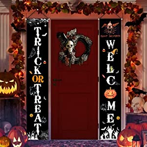 Joyoumess Halloween Decorations Outdoor Indoor Welcome Sign for Front Door Decor Trick or Treat Banner Porch Signs Hanging Flags for Home Party Office Outside Yard Garden Supplies