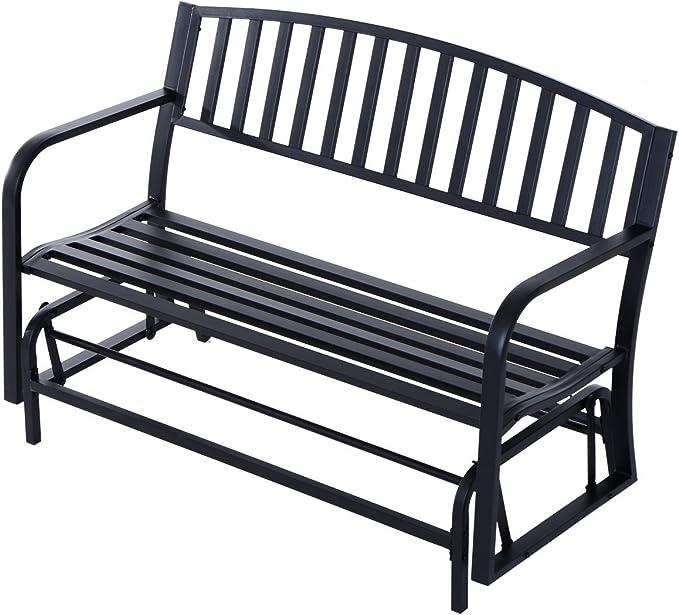 Outsunny 50 Outdoor Patio Swing Glider Bench Chair Black Garden Outdoor Amazon Com