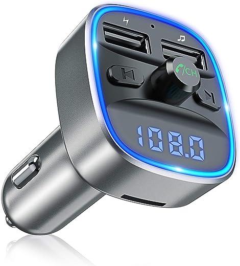 Bovon Bluetooth FM Transmitter Auto Radio Adapter, Auto Ladegerät mit 2 USB Anschlüsse und Freisprecheinrichtung, mit Blauem Umgebungslicht,...