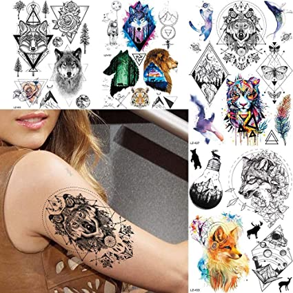 Tatuaje Falso Tatuaje Geométrico Lobo Negro Flash De Transferencia ...