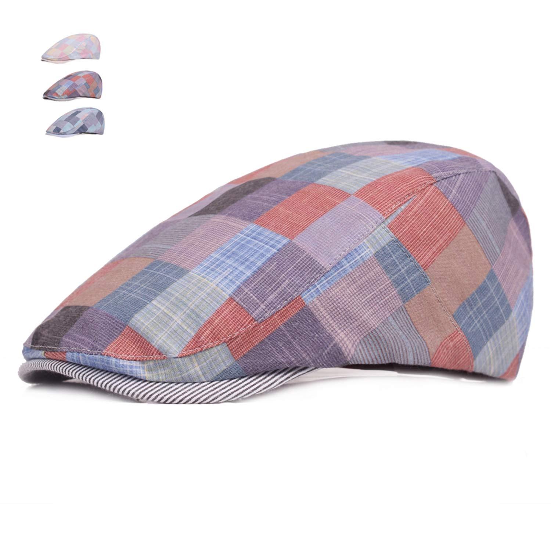 Fashion Summer Caps for Men Women Casual Cotton Beret Hats Gorras Planas England British Retro Boinas Flat Caps Plaid Berets Blue One Size at Amazon Womens ...