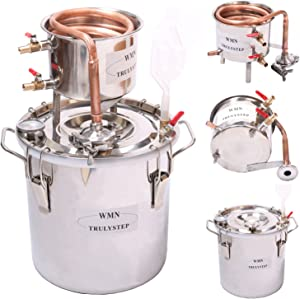 WMN_TRULYSTEP DIY Home Distiller Moonshine Still Stainless Boiler Thermometer Wine Spirits Essential Oil Water Brewing Kit (Copper, 30 Litres / 8 Gallon)