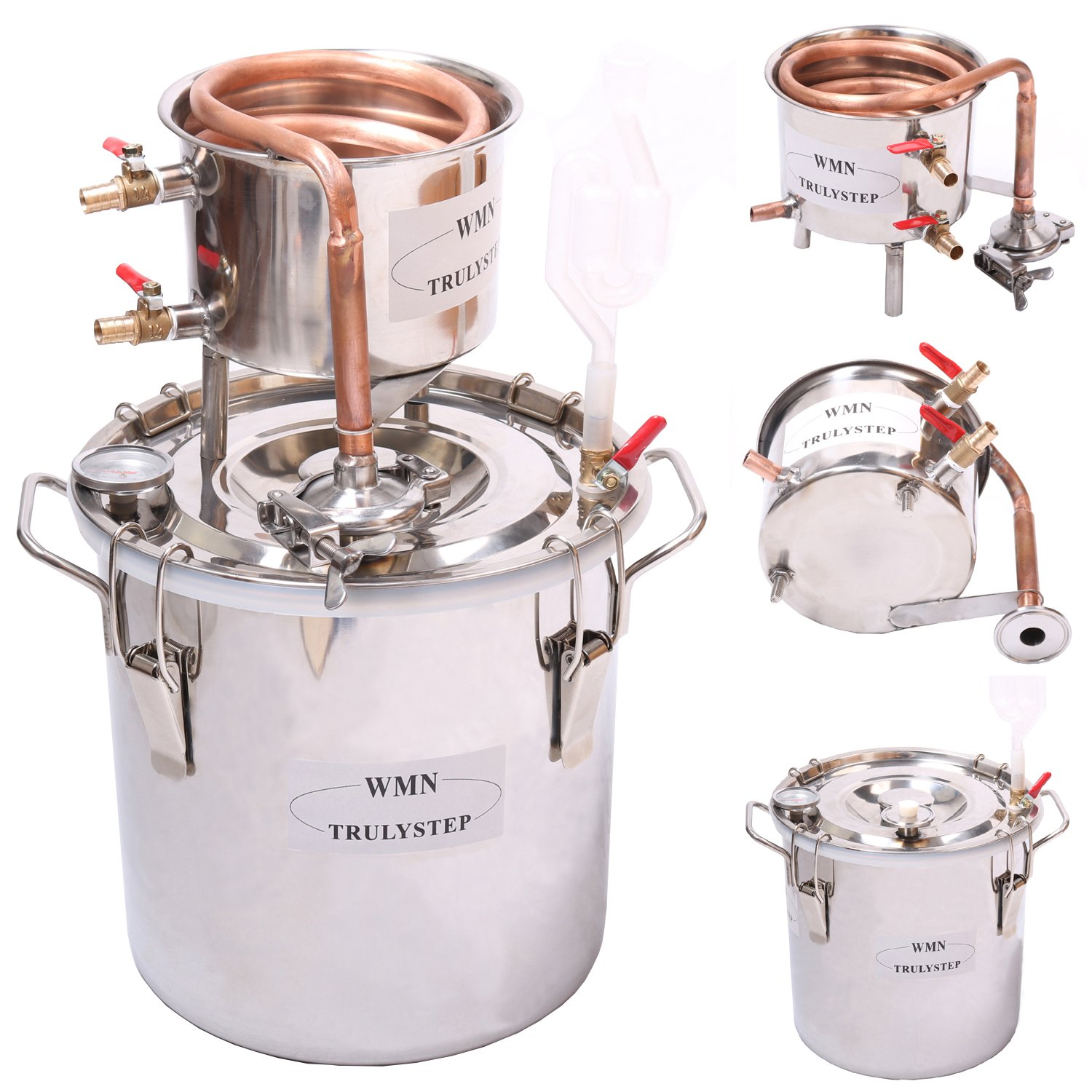 WMN_TRULYSTEP MSC03 Copper Alcohol Moonshine Ethanol Still Spirits Boiler Water Distiller, 20 Litres by WMN_TRULYSTEP