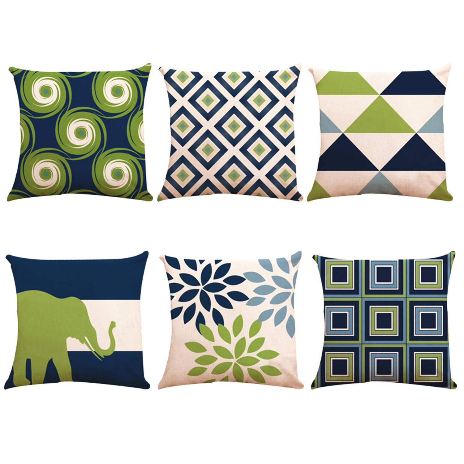 Decorative Throw Pillow Covers 18 x 18 Inch Double Side Design,ZUEXT Set of 6 Geometric Cotton Linen Indoor Outdoor Pillow Case Cushion Cover for Car Sofa Home Decor(Navy Pear Green New Living Series)