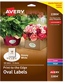 "Avery Oval Labels for Laser & Inkjet Printers, 1.5"" x 2.5"", 180 Glossy White Labels (22804)"