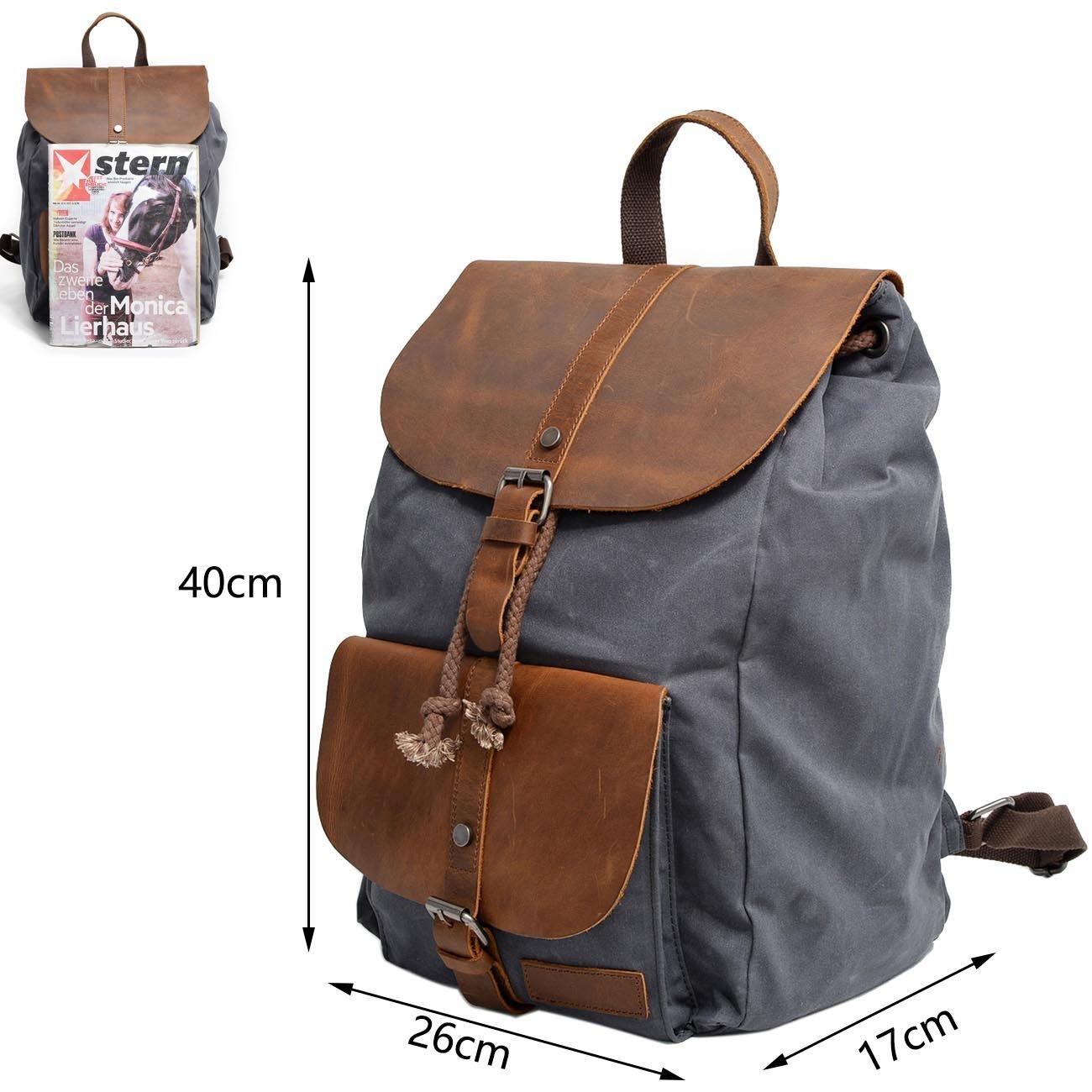 ccaa72a1d301a Neuleben Vintage Wasserdicht Rucksack Daypack aus Canvas Leder Damen Herren  für Reise Outdoor Schule (Braun)  Amazon.de  Koffer