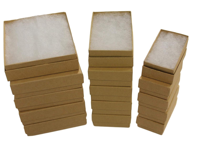 Caja de regalo de joyería rellena de algodón (kraft) surtido de 3 ...